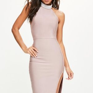 Missguided bandage dress with pearl neck detail